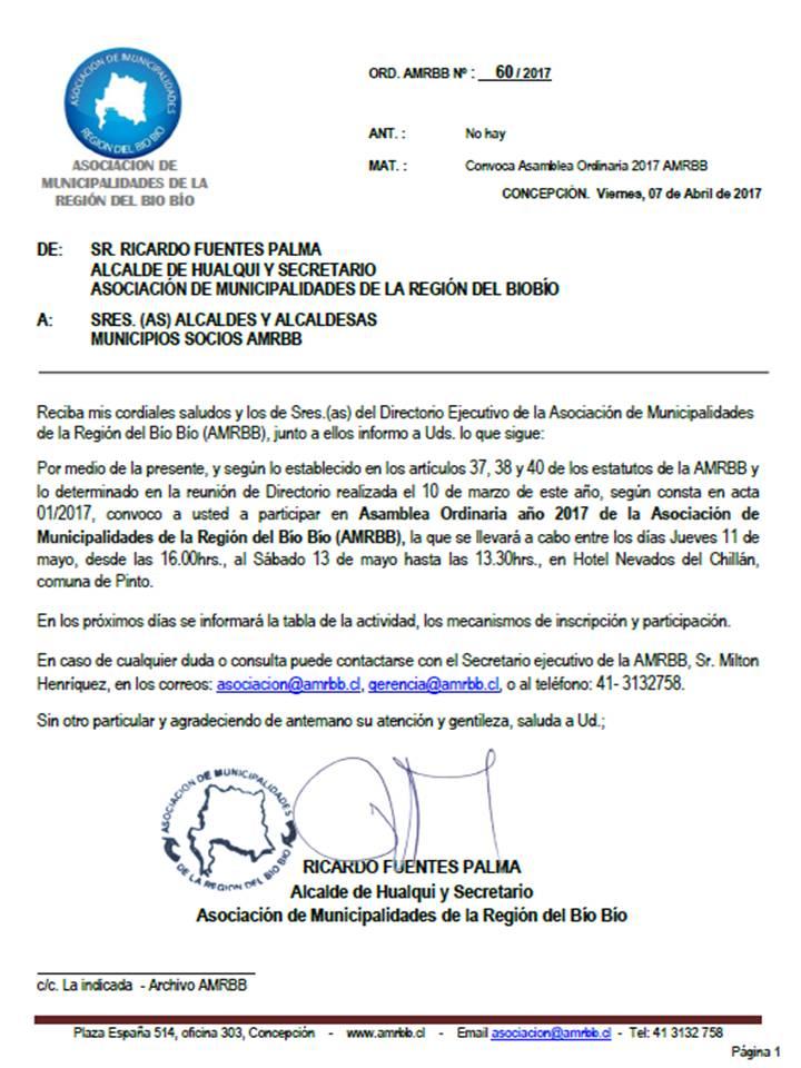 Ord. 60 - Asamblea ordinaria 2017